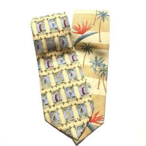 Tommy Bahama Men Necktie Yellow Hula Girl Palm Tre
